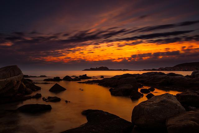 Sunset, Dusk, Dawn, Evening, Waters, Corsica, Sardinia
