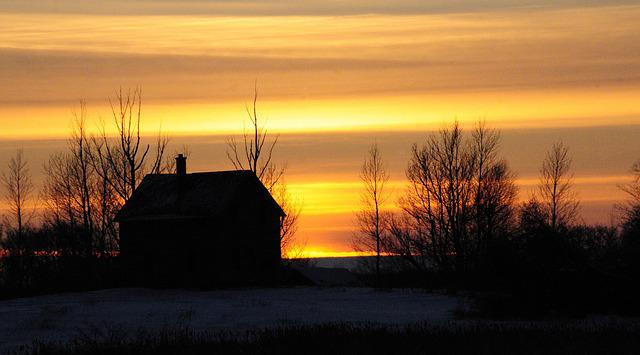 Sunset, Farm, Evening, Farm House