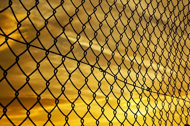 Sunset, Background, Fence, Mesh, Iron, Evening, Orange