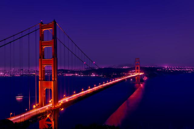 Golden Gate Bridge, Night, Evening, Sunset