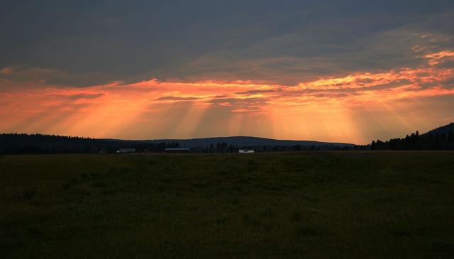 British Columbia, Sunset, Rays, Evening, Orange, Clouds