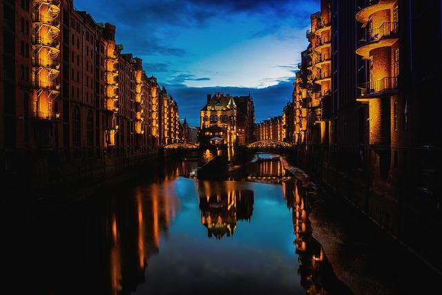 Hamburg, City, Night, Evening, River, Reflection