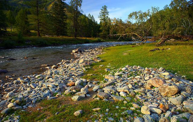 River, Evening, Rocks On The Shore, Mountain Altai