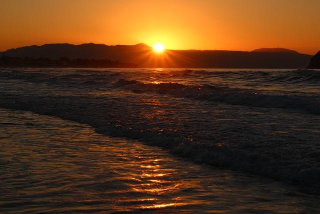 Sunset, Dawn, Evening, Waters, Sea