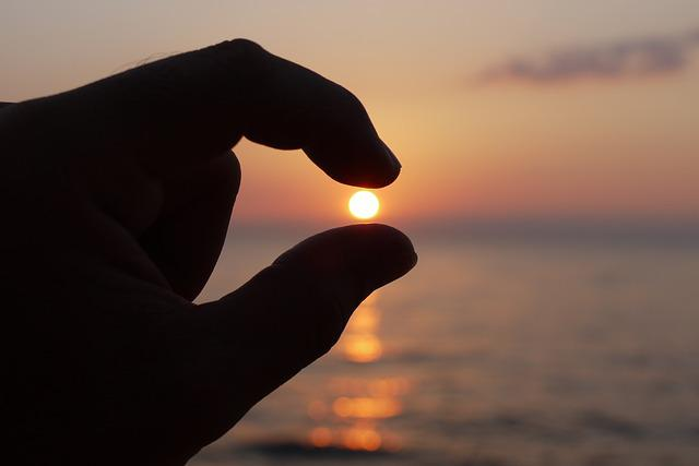 Sun, Finger, Sea, Contact, Ball, Evening Sky