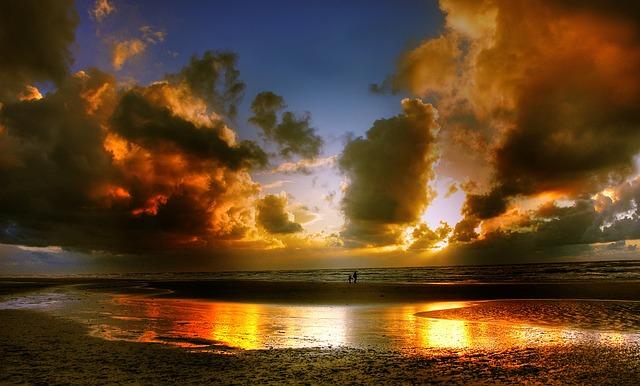 Sunset, Denmark, Sea, Coast, Water, Evening Sky, Sun