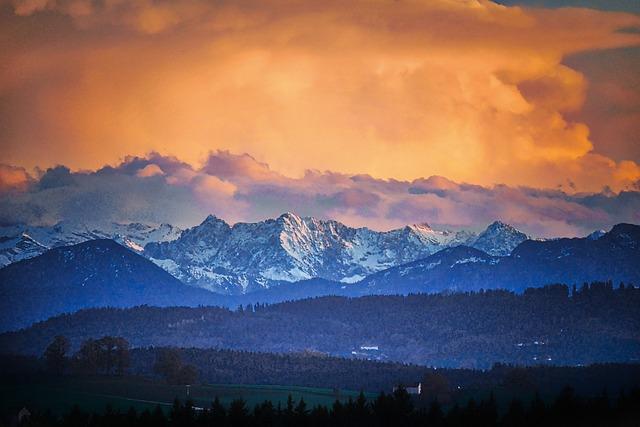 Mountain, Panorama, Snow, Sunset, Travel, Sky, Evening