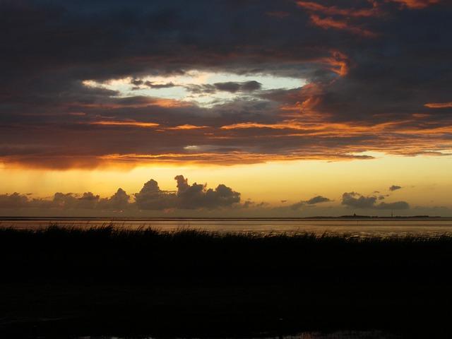 Evening Sky, Sunset, Sea, Afterglow, Abendstimmung