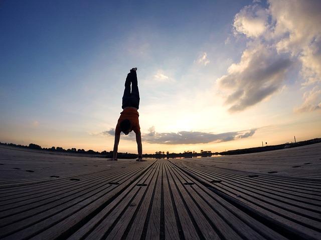 Handstand, Evening Sky, Beach, Sun, Summer, Sunset