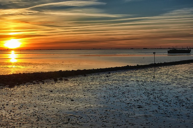 Sunset, Wadden Sea, North Sea, Watts, Ebb, Evening Sky