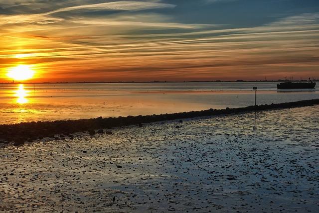 Sunset, Wadden Sea, North Sea, Watts, Ebb, Evening Sky