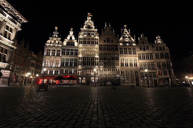 Belgium, Antwerp, Square, Evening