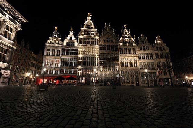 Belgium, Antwerp, Square, Evening
