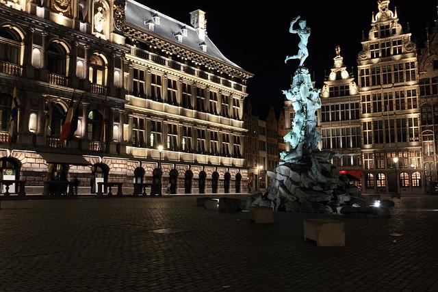 Belgium, Antwerp, Square, Statue, Evening