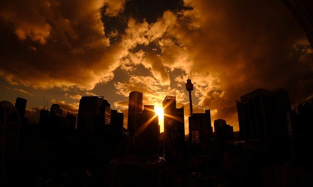 Sydney, Skyline, Tower, Sunset, Evening Sun