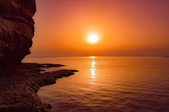 Sunset, Sea, Dusk, Sun, Evening, Rock, Cliff, Scenery
