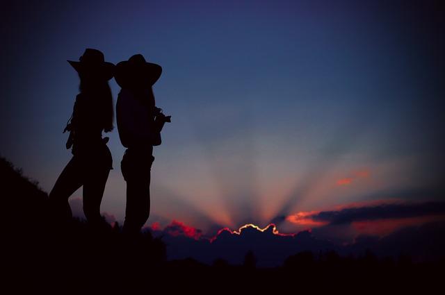 Silhouette, Sunset, Evening, Girls