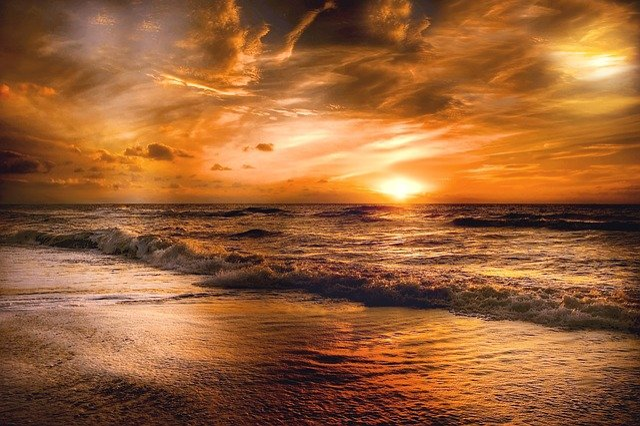 Sun, Setting, Sky, Sunset, Nature, Mood, Evening