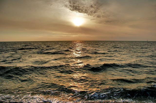Sea, North Sea, Norden-norddeich, Sunset, Wave, Evening