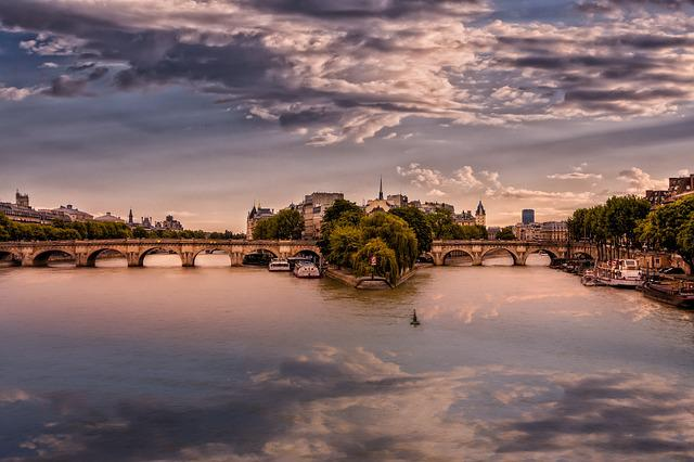 Paris, Body Of Water, Reflection, Water, Evening