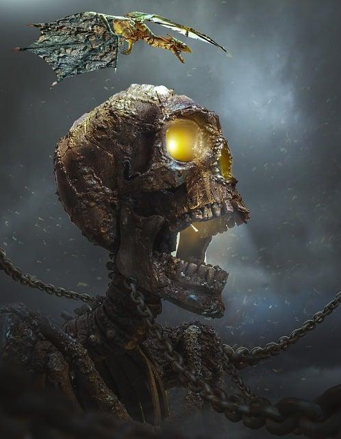 Death Head, Skull, Bronze, Dark, Skeleton, Evil, Demon