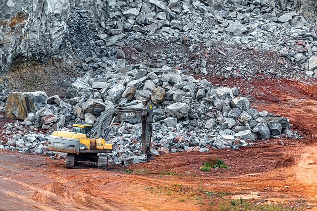 Pit, Excavators, Work, Rock, Stones, Crush, Basalt