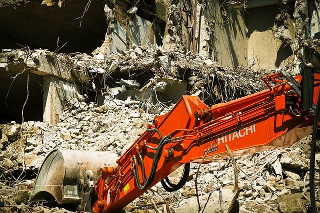 Site, Demolition, Excavators, Home, Work, Crash