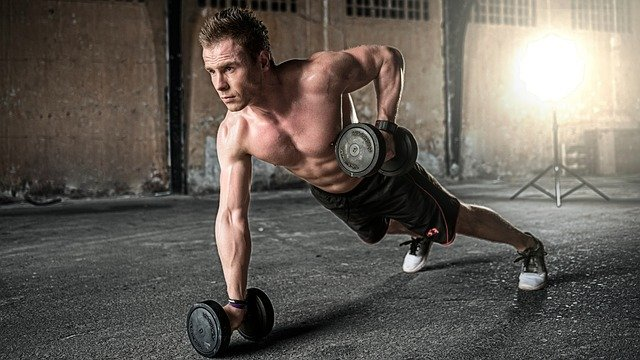 Man, Exercise, Fitness, Gym, Dumbbells, Workout