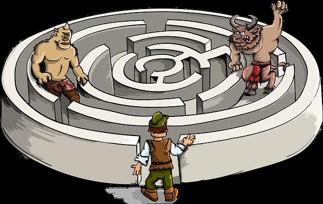 Minotaur, Cyclops, Labyrinth, Entrance, Exit, Dude