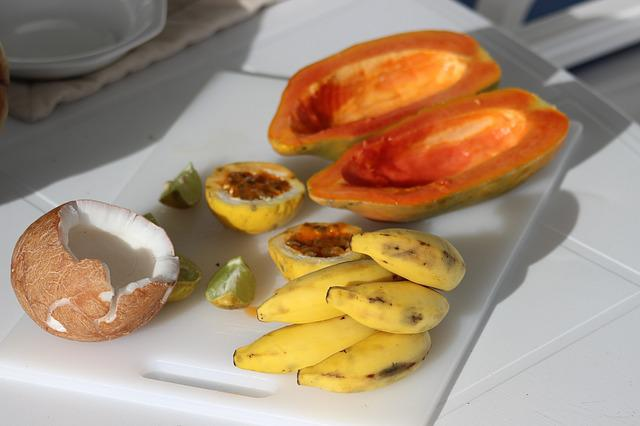 Exotic Fruits, Coconut, Papaya, Small Bananas
