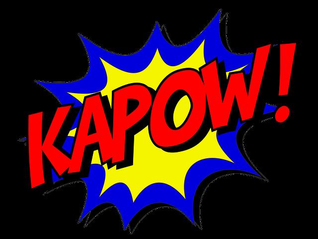 Kapow, Comic, Comic Book, Fight, Explosion, Expletive