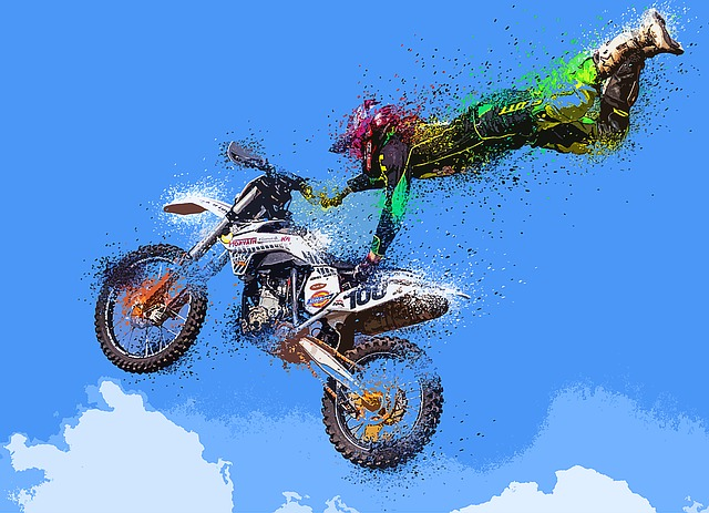 Motorcycle, Particles, Explosion, Colors, Sky, Clouds