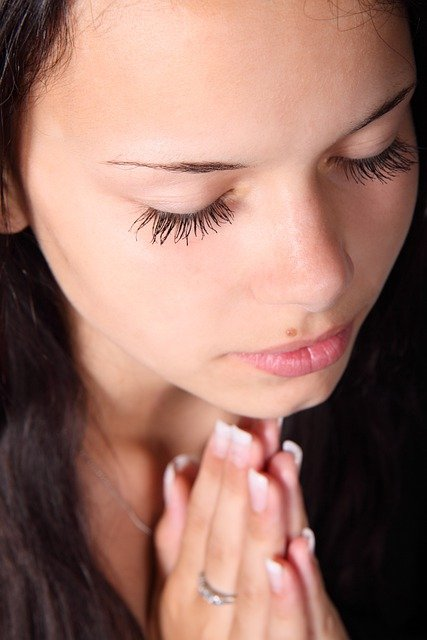 Girl, Praying, Hands, Eyelashes, Closed, Eye, Eyes