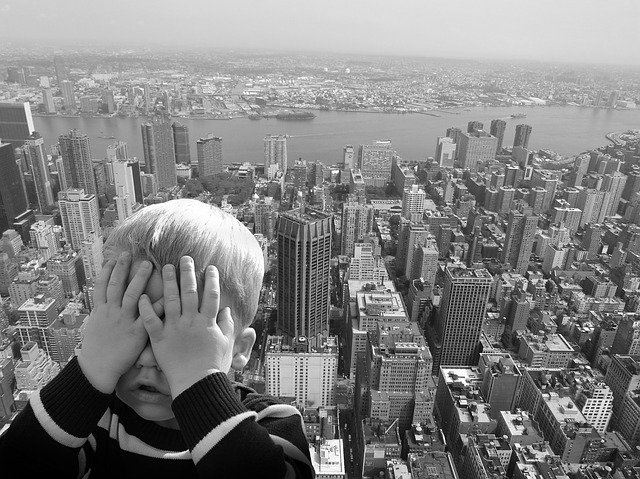 Fear Of Heights, Child, Eyes Closed, Fear, Height