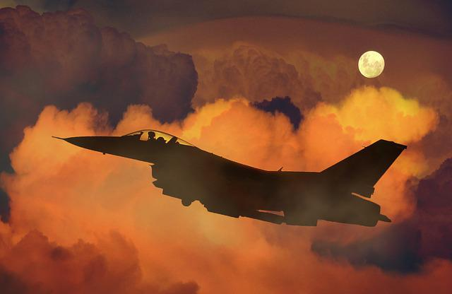 Airplane, Jet, Fighter, F-16, Night Sky, Moon, Clouds