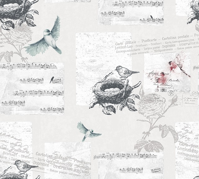 Bird, Note, Flowers, Article, Fabric, Printing