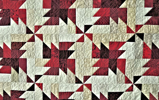 Prize Winning Quilt, Triangle Design, Fabric, Red