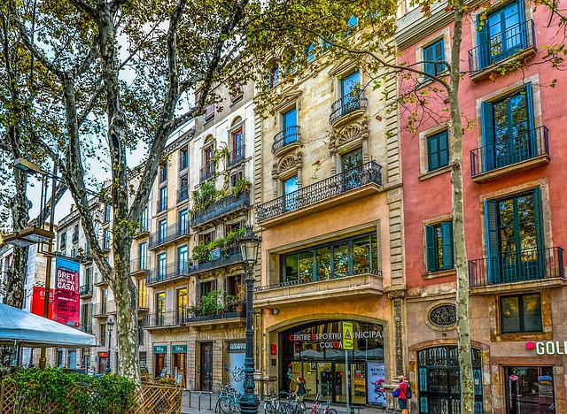 Barcelona, Spain, Facade, Tree, Street, Building