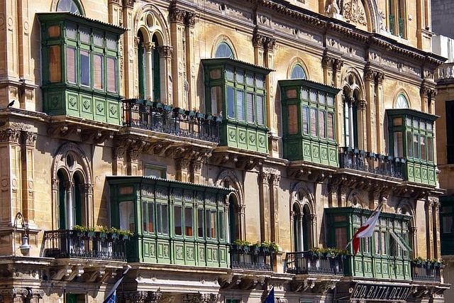 Balconies, Valletta, Architecture, Building, Facade
