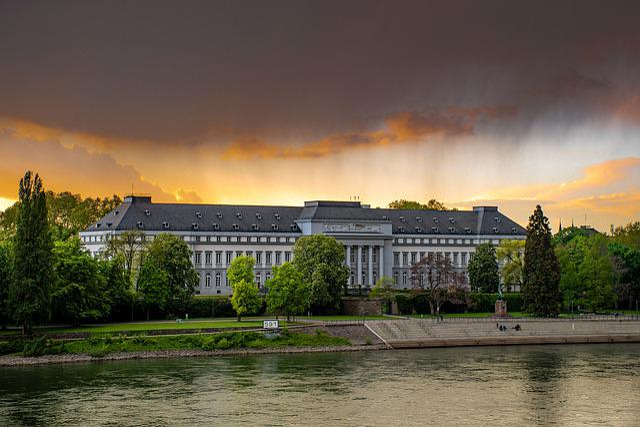 Castle, Rhine, Clouds, Abendstimmung, Building, Facade