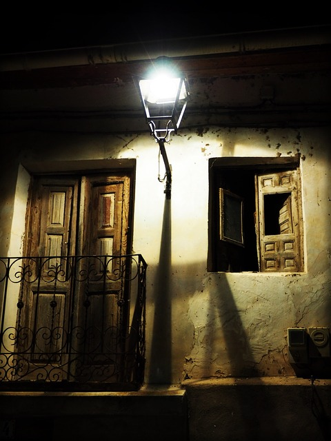 Old House, Street Lamp, Facade