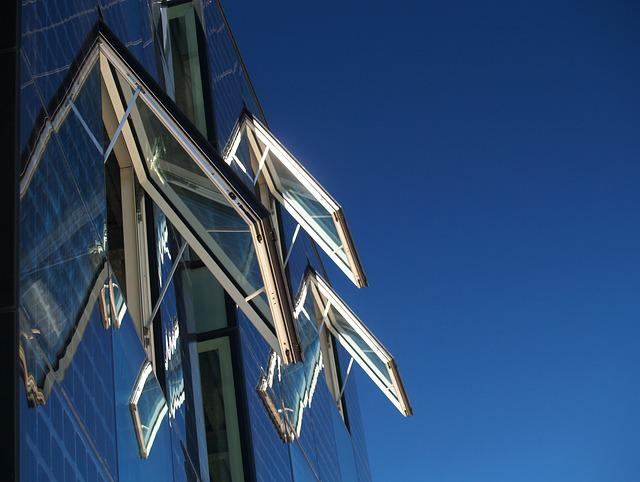 Window, Facade, Glass, Architecture, Sky, Blue, Opening