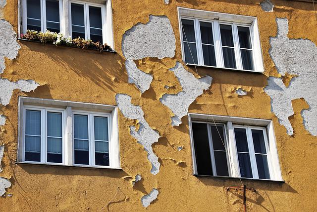 Old Plaster, Façades, Yellow, Wall, Old Windows, Facade