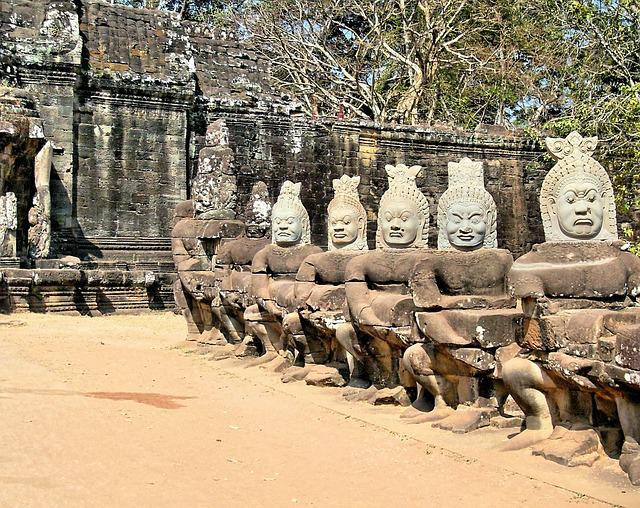 Cambodia, Angkor, Bayon, Guards, Statues, Face