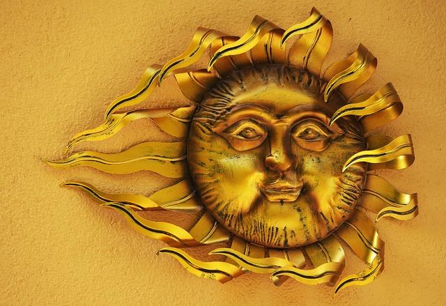 Sun, Art, Face, Sculpture, Golden, Artwork, Deco