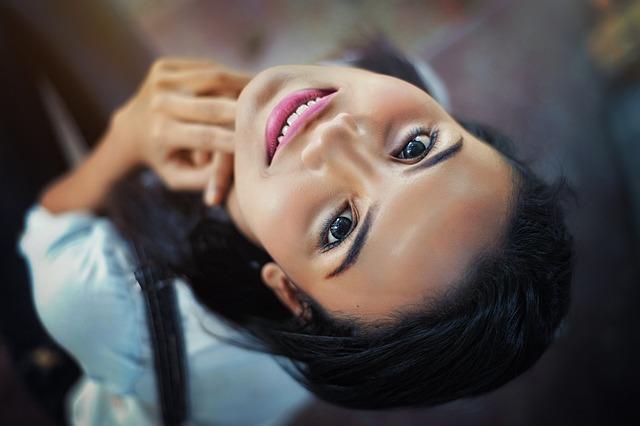 Face, Girl, Close-up, Eyes, Lips, Smile, Hair, Pose