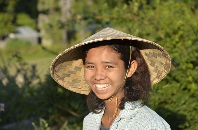 Girl, Myanmar, Laugh, Face, Happy