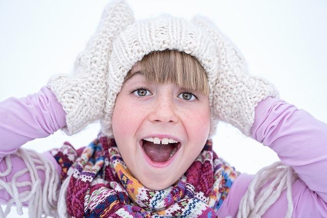 Female, Girl, Winter, Cap, Gloves, Face, Portrait
