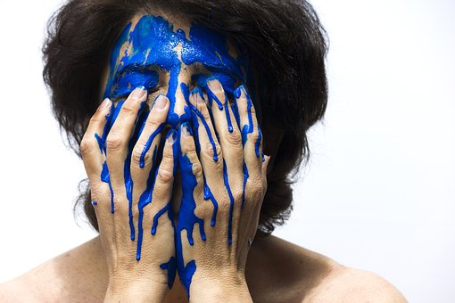 Color, Face, Blue, Painting, Woman