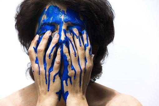 Color, Face, Blue, Painting, Woman